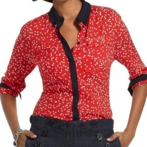 Maeve Red Polka Dot Button Down Blouse